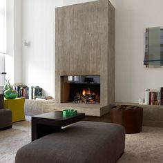 Agency - Johan Lenaerts Calming tones, highlighted fireplace, scattered welcoming furniture Concrete Fireplace, Modern Fireplace, Fireplace Design, Simple Fireplace, Fireplace Wall, Living Room Flooring, Home Living Room, Living Spaces, Modern Interior