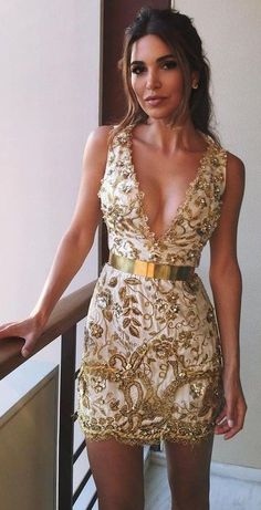 #summer #boho #chic #style | Gold Embellished Little Dress