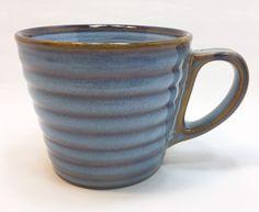 Starbucks Coffee Mug 12 oz Blue Brown Stripes Ribbed 2008 #Starbucks