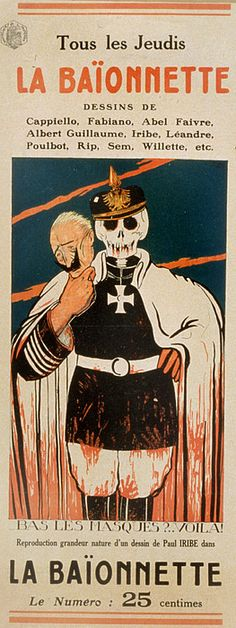 La Baionnette, a weekly satirical journal for French soldiers at the front. The cover shows a skeleton in a German military uniform holding a mask of Kaiser Wilhelm. The text reads Bas les masques?...Viola! Translation Off with the masks? There it is!, Paris, 1916.