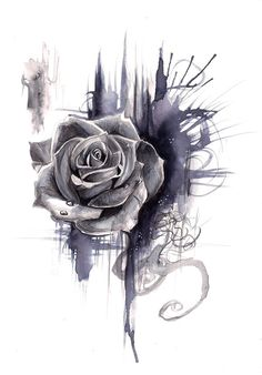 Rose Drawing - idea for tatoo. Neck Tattoos, Body Art Tattoos, Tattoo Drawings, Sleeve Tattoos, Rose Drawings, Tattoos Skull, Feather Tattoos, Forearm Tattoos, Trash Polka