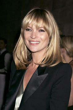 """Choppy: Kate Moss  The best way to get brow-skimming bangs to remain front and center is """"to blowdry them downward with a small, flat brush and finish them with a flat iron,"""" says stylist Creighton Bowman. We love the piece-y texture on Kate Moss' fringe here — it feels a little more approachable than a blunt style and more modern than the Bardot center-split."""