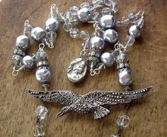 SOAR   Sterling Silver Marcasite Bird Necklace by WhatOnceWas, $325.00