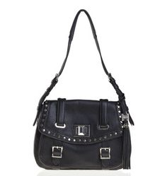 In black tumbled leather, the downtown appeal of this large flap messenger shoulder bag is all about the hardware, from the studs framing the edge of the flap to the buckles and the signature turnlock closure.