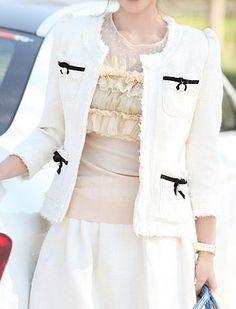 White Round Neck Bow Pockets Embellished Coat