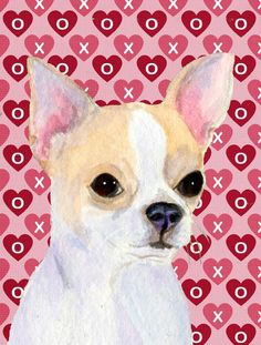 Chihuahua Hearts Love and Valentine's Day Portrait Flag Canvas House Size