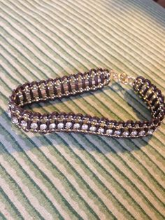 Handmade Leather and Rhinestone Bracelet
