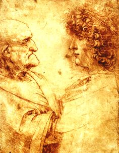 Old Man and Young Man by Leonardo da Vinci, 1495-1500