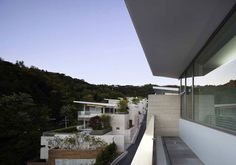 Architecture, Luxurious Bright White Residence Interior Design By Joel Sanders Architect and Haeahn Architecture: White Residence Balcony Overlooking Green View