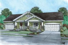 Cottage Style House Plans - 3590 Square Foot Home , 1 Story, 4 Bedroom and 4 Bath, 4 Garage Stalls by Monster House Plans - Plan 10-869