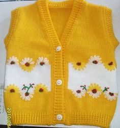 I found great knitting vest idea. Sweater Knitting Patterns, Knitting Designs, Knit Patterns, Knitting For Kids, Crochet For Kids, Hand Knitting, Knitting Ideas, Crochet Baby Dress Pattern, Baby Dress Patterns