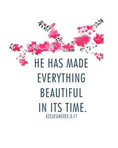 He Has Made Everything beautiful in its time 8x10 print #beaheart Bougainvillea water color