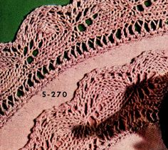 Knitted Edging on Luncheon Set - free vintage pattern from Edgings for All Purposes, Clark's O.N.T. J Coats, Book No. 288, in 1952.