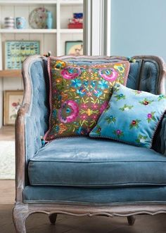 French Blue chair and pillows. Gorgeous