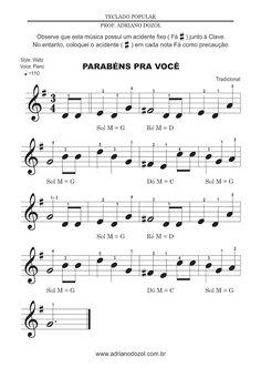 """Partitura """"Parabéns Pra Você"""" - Teclado\Piano (FÁCIL) Saxophone Sheet Music, Piano Sheet Music, Music Guitar, Music Songs, Music Sheets, Piano Lessons, Music Lessons, Hallelujah Sheet Music, Guitar Classes"""