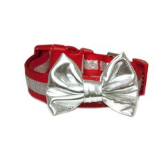 A personal favorite from my Etsy shop https://www.etsy.com/listing/494551540/silver-lame-bow-accessory-for-dog-collar