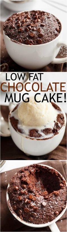 Low Fat Chocolate Mug Cake recipe WITH another video. Ready in less than one minute! Fluffy. Buttery and soft. The BEST low fat, guilt-free mug cake! | http://cafedelites.com
