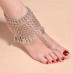 1PC Vintage Coin Tassel Toe Link  Anklet Ankle Bracelet Silver Barefoot Sandal Women Foot Jewelry AL169 #barefoot #fun #anklet