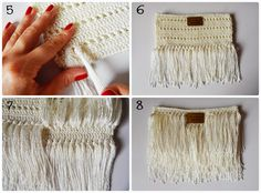 Tina's handicraft : bag with fringes Crochet Wallet, Crochet Clutch, Crochet Handbags, Crochet Purses, Knit Crochet, Crochet Stitches Patterns, Stitch Patterns, Diy Sac, Boho Bags