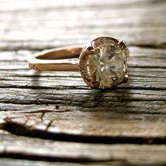 Cushion Cut White Sapphire Engagement Ring by AdziasJewelryAtelier