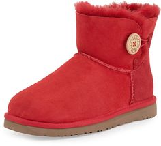 $135, Red Uggs: UGG Australia Mini Bailey Buttoned Boot Red. Sold by CUSP. Click for more info: https://lookastic.com/women/shop_items/141822/redirect