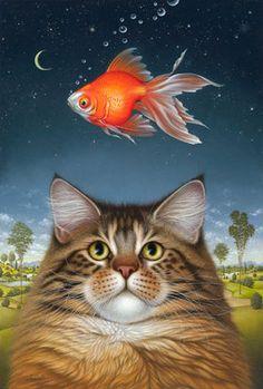 Braldt Bralds Catatonic Art Print Cats Goldfish