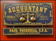 ACCOUNTANT Vintage Wooden Plank Sign with Sculpted Relief