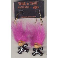Vintage Funky TROLL DOLL EARRINGS-Fun Miniature Retro Toy Costume Jewelry-YELLOW