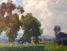 Hanson Puthuff (1875-1972). Clouds of Springtime. Oil on Canvas, 28 x 36 in.