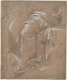Lorenzo di Credi, Drapery Study, Metalpoint, brown ink and white gouache on pink prepared antique laid paper, framing lines in brown ink  (9 13/16 x 8 1/8 in.)