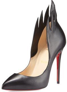 711c0ceac8b Christian Louboutin Victorina Flame Topline Pointy Toe Pump Black Leather High  Heel Inserts