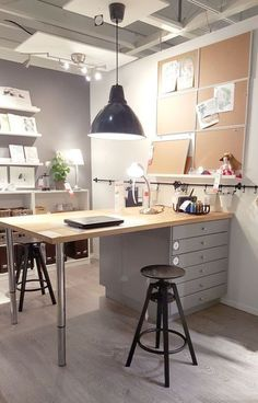 Absolute BEST IKEA Craft Room Ideas - the Original! The BEST Ikea Craft Rooms Organizing Ideas - this is a craft room inside an IKEA showroom! Perfect for a basement or in a large living area. See more in this post by craft expert Jennifer Priest.