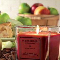 Scentennial Candles 5 oz. Square Jar Dutch Apple Pie       Bubbling apples with brown sugar in a buttery crust smells just like grandma's house!  Enjoy the sweet candle aromas for 20-25 hours of burn time!