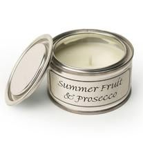Candle: Scented Tin 14 hrs Spring Fresh Cream - Summer Fruit & Prosecco