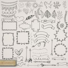 57 Vector digital elements  hand drawn doodle by RetroWallDecor