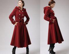 wine cashmere coat  hooded military coat (705f1) from xiaolizi fashion by DaWanda.com