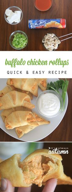 Buffalo Chicken Rollups: this easy recipe is perfect for a quick dinner or holiday party appetizer. Only five ingredients! #ad