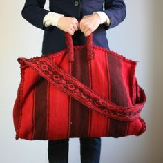 Red wool, Mexican blanket recycled as an over sized tote.