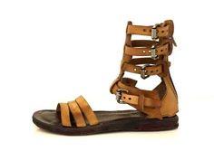 A.S.98 Scarpe donna Airstep shoes women Sandali gladiatore con fibbie Natur