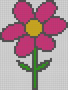 Spring flower perler bead pattern - Home Decor Idea Pearler Bead Patterns, Perler Patterns, Loom Patterns, Beading Patterns, Cross Stitch Designs, Cross Stitch Patterns, Cross Stitching, Cross Stitch Embroidery, Pixel Art