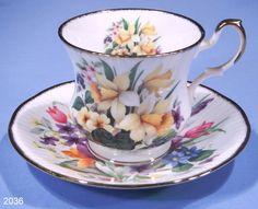 Old China Cups and Saucers | Queens Vintage Fine Bone China Spring Flowers Tea Cup and Saucer ...