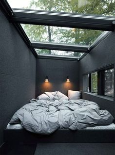 """Vipp Hotel offers """"out of the ordinary"""" accommodation in a secluded cabin or an urban loft - Houses interior designs Home Decor Bedroom, Modern Bedroom, Bedroom Ideas, Bedroom Designs, Black Bedrooms, Black Bedroom Design, Bedroom Green, Industrial Bedroom Design, Industrial Decorating"""