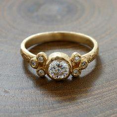 Half carat center stone ring Unique new style wedding rings by Yasuko Azuma Jewellery