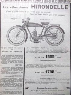 Publicite Velomoteur Hirondelle Annee 1933