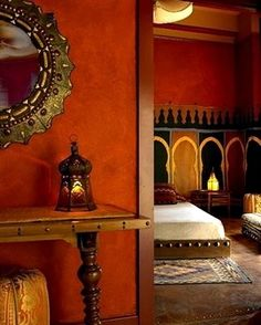 LOVE THIS MIRRO..WANT MY OWN VERSION...Orange Moroccan bedroom.