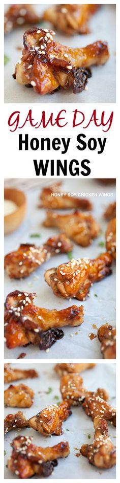 GAME DAY honey soy baked wings. Easy peasy recipe. You can watch the game while the wings are baked in the oven, and they're oh-so-sticky-and-DELICIOUS | rasamalaysia.com