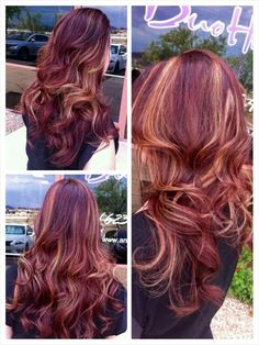 burgundy hair color with blonde highlights Red Hair With Blonde Highlights, Red Blonde Hair, Dark Red Hair, Highlights 2016, Red Streaks, Violet Highlights, Chunky Highlights, Caramel Highlights, Colored Highlights