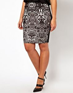 ce5642fd660c8 ASOS CURVE Pencil Skirt In Lace Print Lace Print