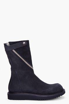 Rick Owens Black Raw Leather Twist Zip Boots for men | SSENSE