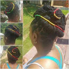 #locs #locsstyles #dreads #locqueen #royalty #melaninqueen #rasta #redgreenyellow #spicy #loveit❤️ #photobyme #creativity #nice